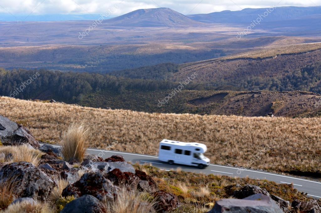 Campravan drive through Tongariro National Park