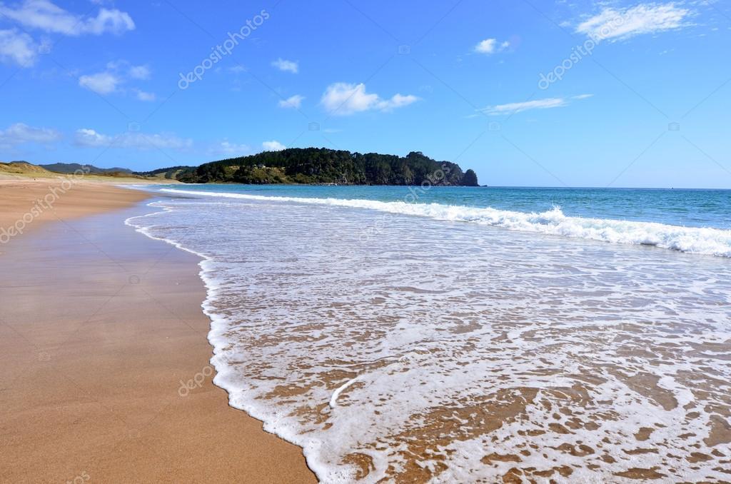 Água quente bech nova zelândia fotografias de stock