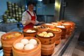 Kínai élelmiszer piac Sanghajban