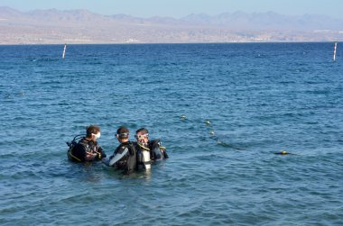 Divers diving in Coral Beach Nature Reserve in Eilat, Israel
