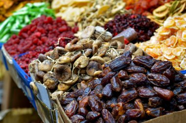 Dried fruits on display in food marke