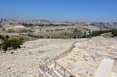 JERUSALEM-MAR 19 2015:Mount of Olives Jewish Cemetery.Its the most ancient and important cemetery in Israel since First Temple Period It contains 70,000 tombs some of famous figures in Jewish history stock vector