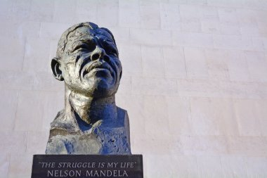 Nelson Mandela sculpture at the Royal Festival Hall in London UK