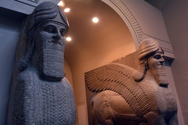 Human Headed Winged Lions and reliefs from Nimrud with the Balaw