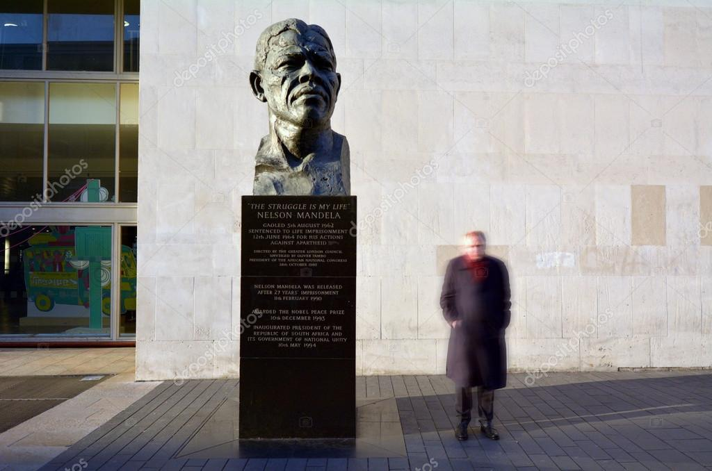 Nelson Mandela sculpture at the Royal Festival Hall in London UK