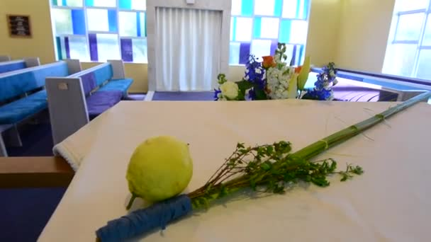 The Four species symbols of the Jewish holiday Sukkot  in a synagogue