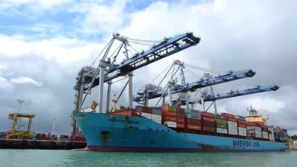Frachtschiff in Häfen von Neuseeland