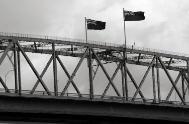 Flags of New Zealand on Auckland Harbor Bridge