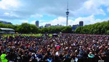 Thousands of people in Victoria park, Auckland New Zealand