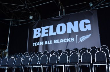 Empty seats of All Blacks rugby team players