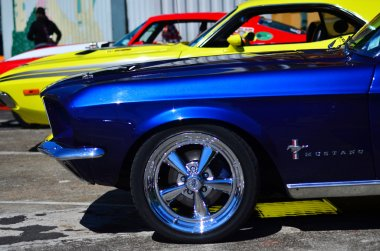 Ford Mustangs in a public US muscle cars V8 car show