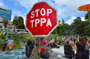 Protestors in Rally against TPPA trade agreement
