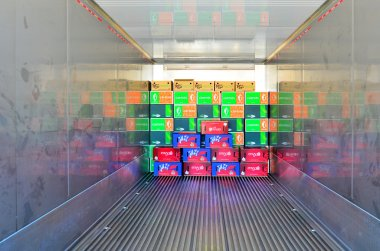 Boxes in a refrigerated container