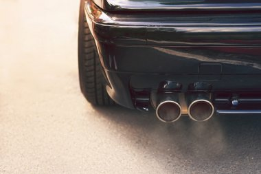 Dual exhaust pipe with smoke