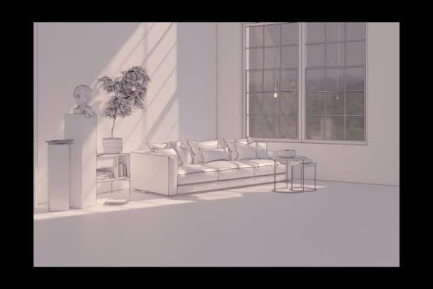 Současný film klip 3D ilustrace moderní obývací pokoj interiér
