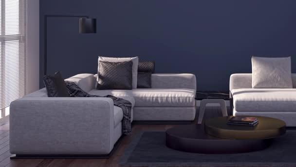 Současný film klip 3D ilustrace vykreslování moderní obývací pokoj interiér