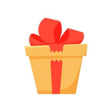 Flat cartoon gift box. Vector illustration icon