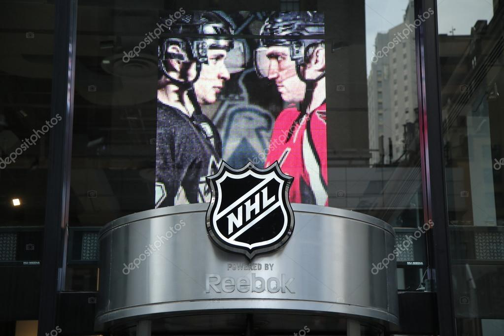 42edccf0041 The NHL shop windows decoration in Manhattan. – Stock Editorial ...