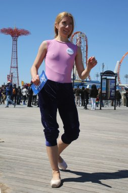 Bernie Sanders supporter during presidential candidate Bernie Sanders rally  at iconic Coney Island boardwalk