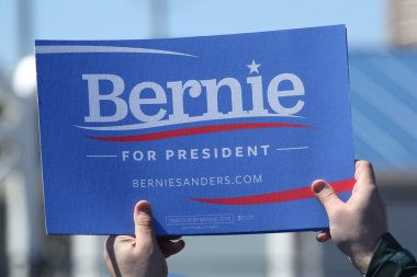 A sign in support of presidential candidate Bernie Sanders during Bernie Sanders rally at Coney Island