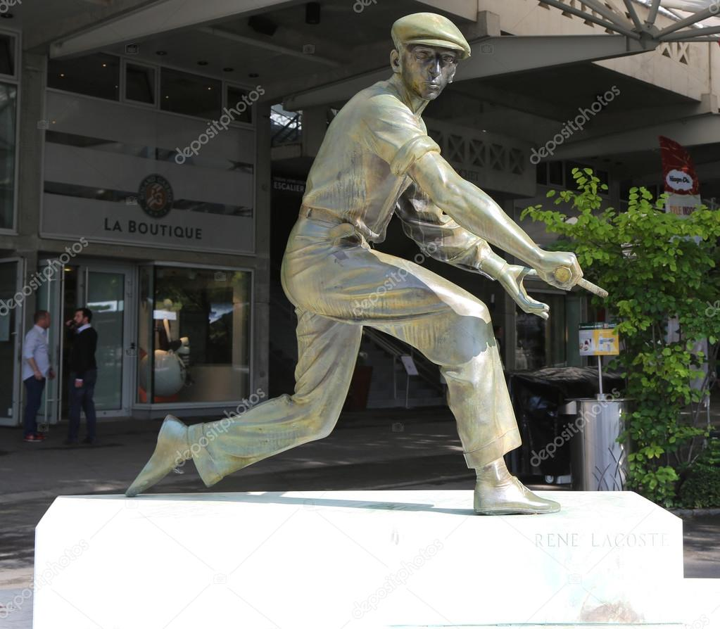 Rene Lacoste statue in Place des Mousquetaires at Le Stade Roland