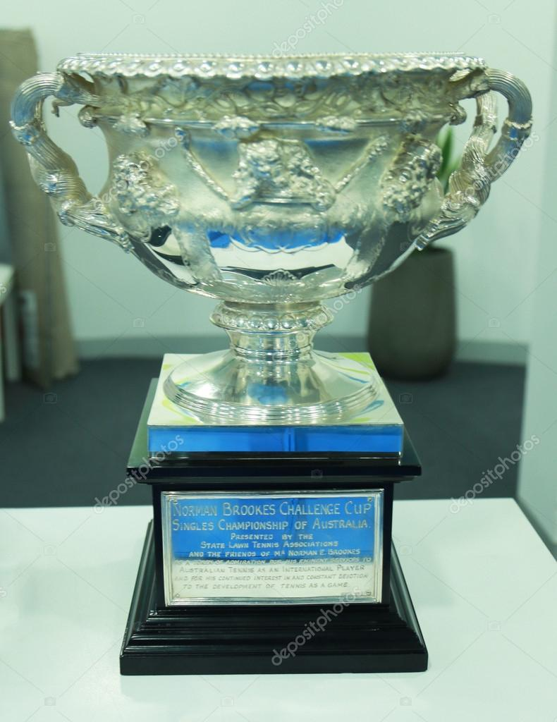 Norman Brooks Challenge Cup on display at Rod Laver Arena in