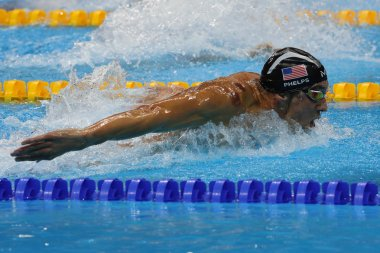 Olympic champion Michael Phelps of United States swimming the Men's 200m butterfly at Rio 2016 Olympic Games