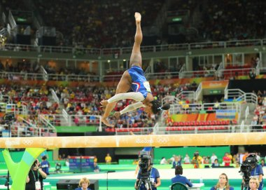 Olympic champion Simone Biles of United States competing on the balance beam at women's all-around gymnastics at Rio 2016 Olympic Games