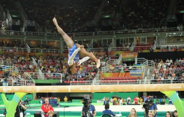 Olympic champion Simone Biles of United States competing on the balance beam at women's all-around gymnastics at Rio 2016