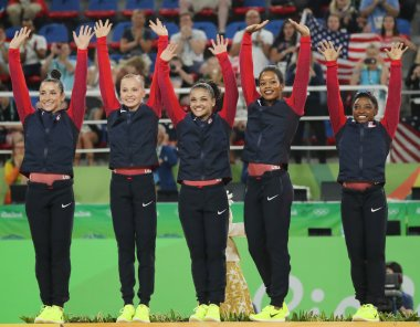Team USA women's team all-around gymnastics winners at Rio 2016 Olympic Games Raisman (L), Kocian, Hernandez, Douglas and Simone Biles