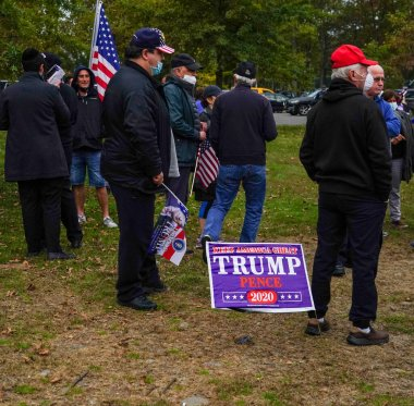 BROOKLYN, NEW YORK - OCTOBER 25, 2020: President Trump supporters participate at New York for Trump 2020 rally in Brooklyn, New York