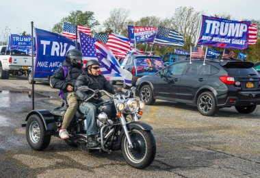 BROOKLYN, NEW YORK - NOVEMBER 1, 2020: President Trump supporters on motorcycles participate at National Trump Day 2020 rally in Brooklyn, New York