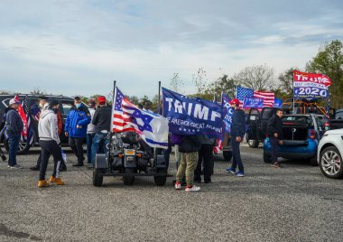 BROOKLYN, NEW YORK - NOVEMBER 1, 2020: President Trump supporters participate at National Trump Day 2020 rally in Brooklyn, New York