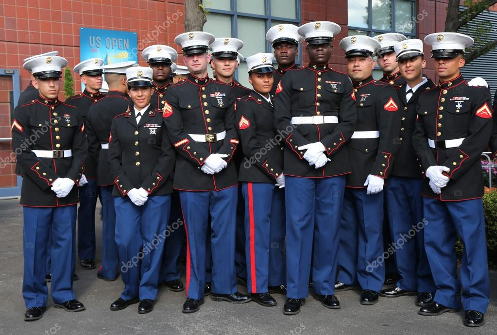 United States Marines at Billie Jean King National Tennis Center before unfurling the American flag prior US Open 2014 women final