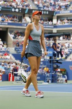 Five times Grand Slam champion Mariya Sharapova during third round match at US Open 2014 against Caroline Wozniacki