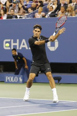 Seventeen times Grand Slam champion Roger Federer during first round match at US Open 2014