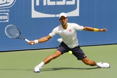 Six times Grand Slam champion Novak Djokovic practices for US Open 2014