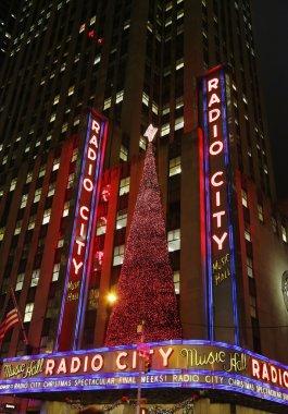 New York City landmark, Radio City Music Hall in Rockefeller Center decorated with Christmas decorations in Midtown Manhattan