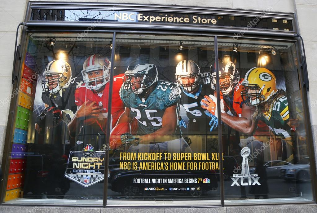 NBC Experience Store window display decorated with NFL and