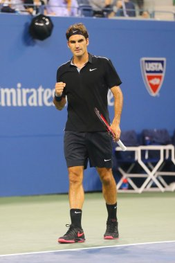 Seventeen times Grand Slam champion Roger Federer during quarterfinal match at US Open 2014 against Gael Monfils