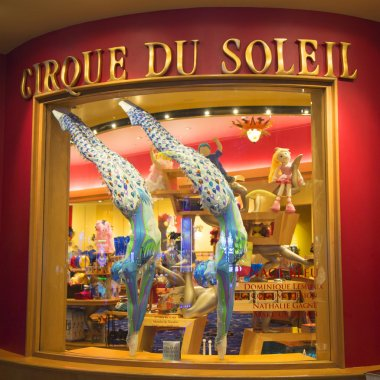 Costumes designed for O Show by Cirque du Soleil on display at the Bellagio hotel.