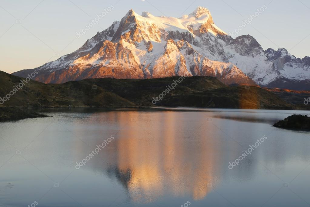The Majestic Cuernos del Paine (Horns of Paine) reflectoion during sunrise in Lake Pehoe in Torres del Paine National Park, Patagonia, Chile