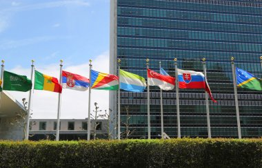 International Flags in the front of United Nations Headquarter in New York