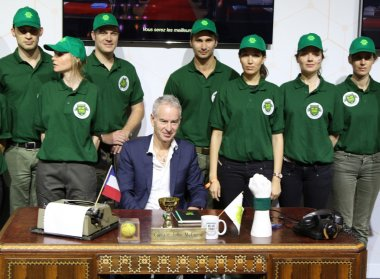 Seven times Grand Slam champion John McEnroe presents We are tennis program during press conference at Roland Garros