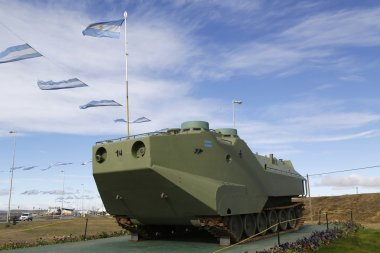Armored military vehicle at the monument to fallen soldiers of Falklands  or Malvinas war in Rio Grande, Argentina