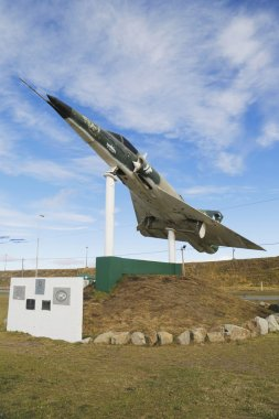 Argentine naval jet at the monument to fallen soldiers of Falklands  Malvinas war in Rio Grande, Argentina.