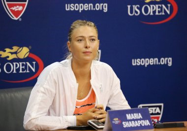 Five times Grand Slam Champion Maria Sharapova during press conference before US Open 2015