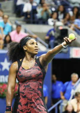 Twenty one times Grand Slam champion Serena Williams in action during her quarterfinal match against Venus Williams at US Open 2015