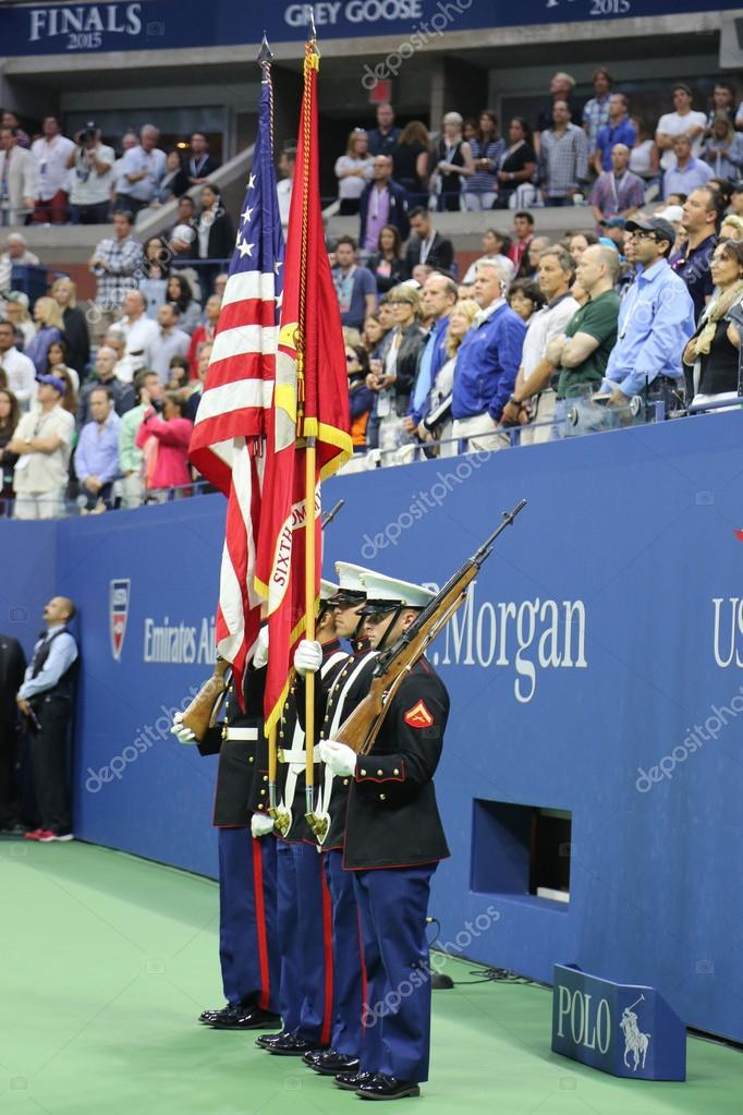 The Color Guard of the US Marine Corps during the opening ceremony of the US Open 2015 women's final