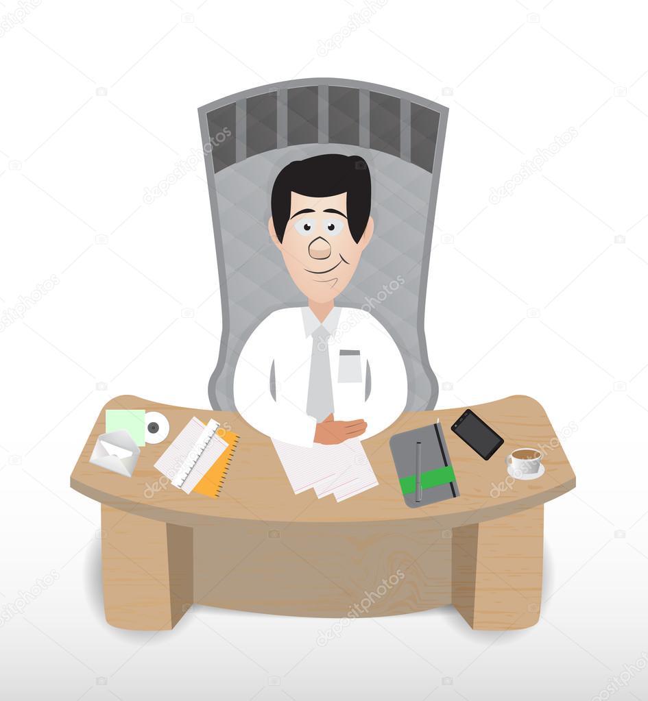 Gerente de hombre de negocios de dibujos animados vector - Imagenes de bancos para sentarse ...